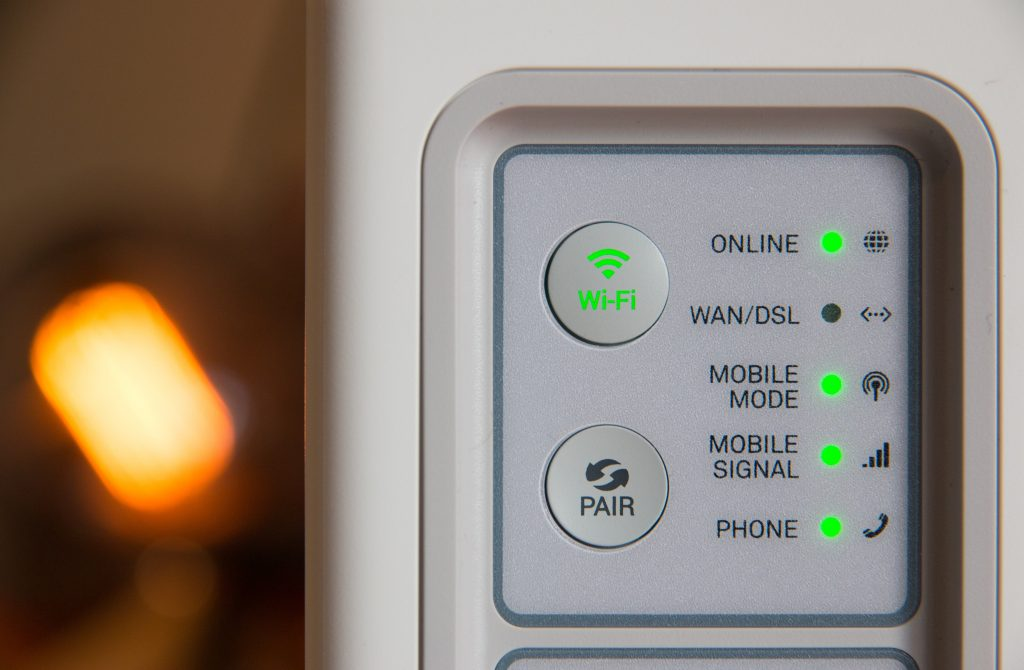 Buttons on a 4G router.