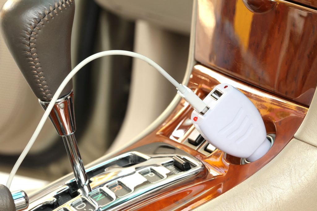 Car power adapter for USB charging.