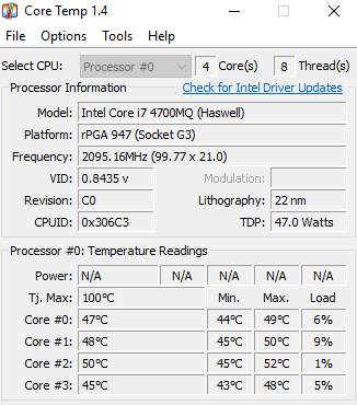 Core Temp user interface.