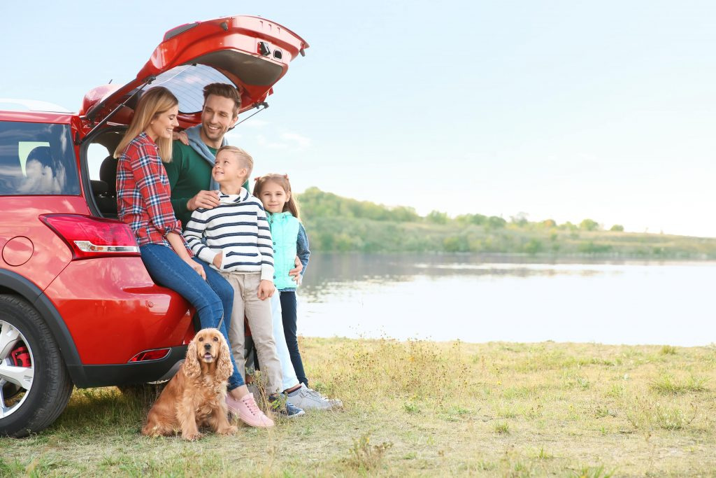 Family travelling on a journey in a car.