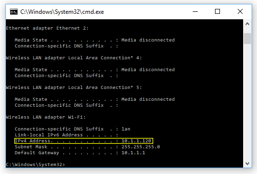 Finding static IP address in command prompt.
