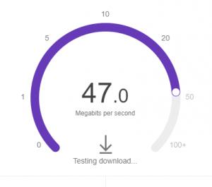 Google speed test download speed result.