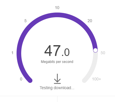 Google speed test download speed result.