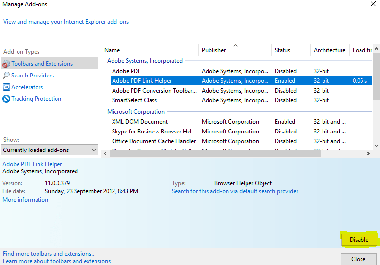 Internet explorer manage add-ons user interface.