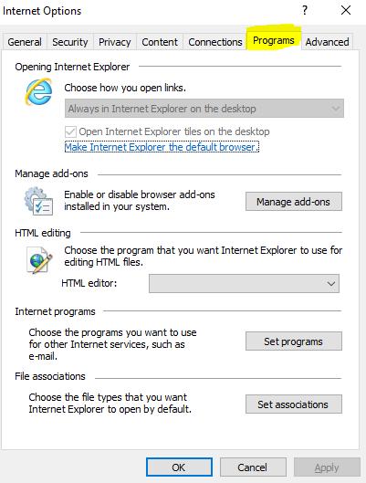Internet explorer programs tab.