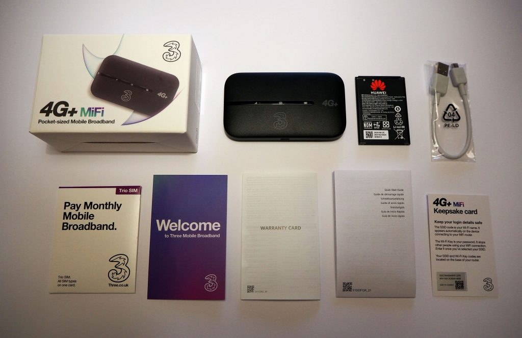All items included inside the Three MiFi box.