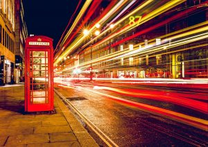 Telephone box on a street in London.