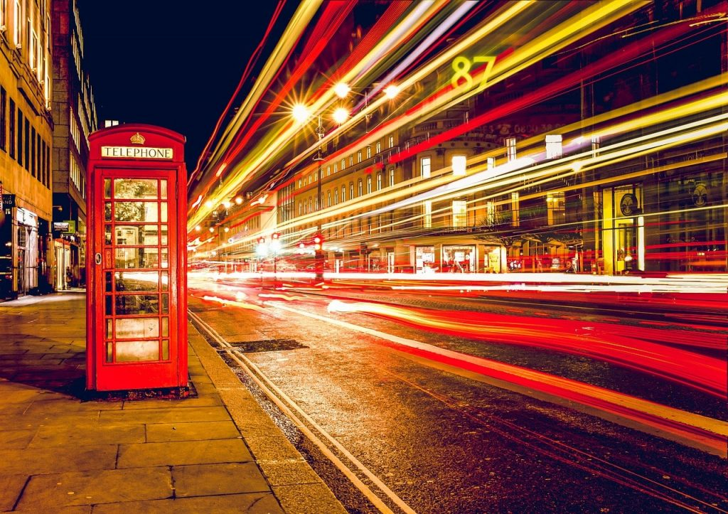 A red telephone box in London.