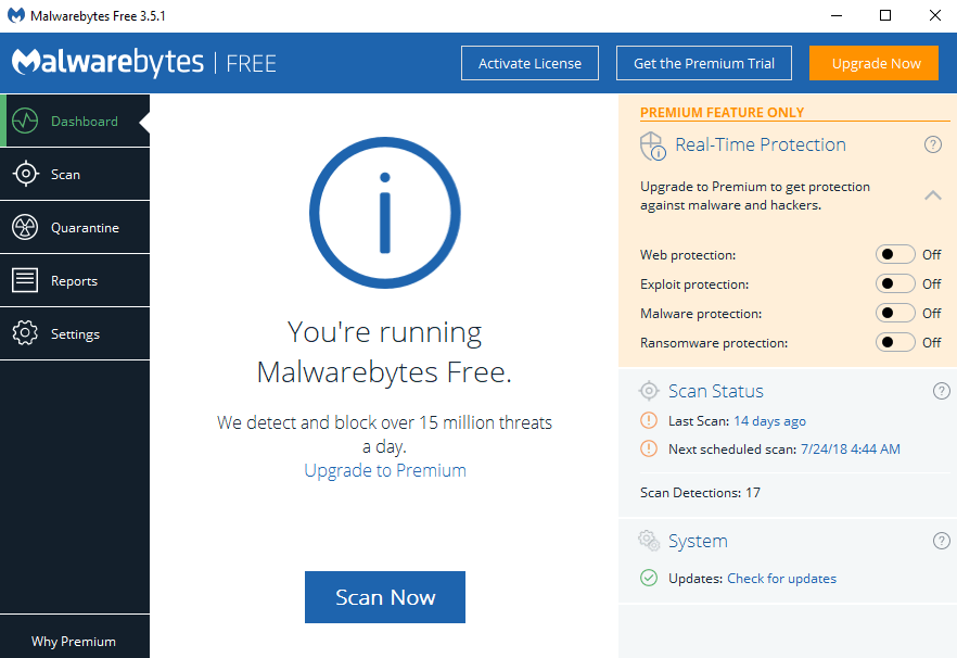 Malwarebytes user interface.