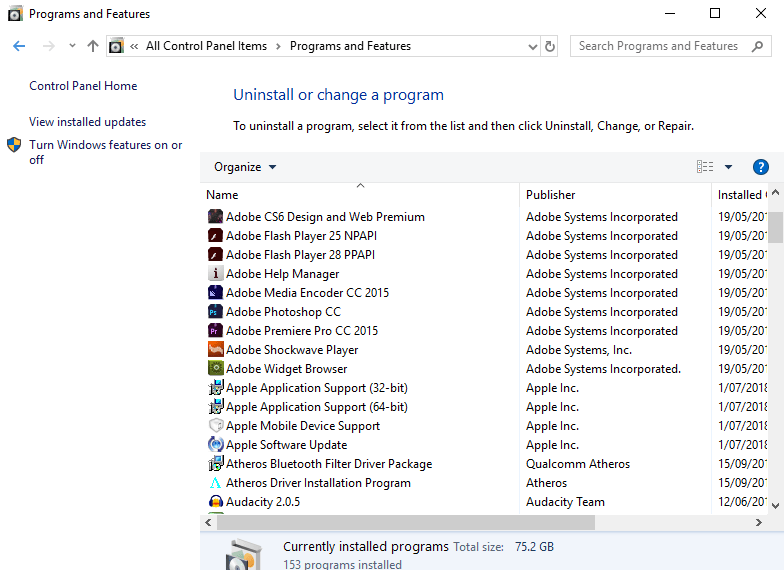 Programs and features list on Windows 10.