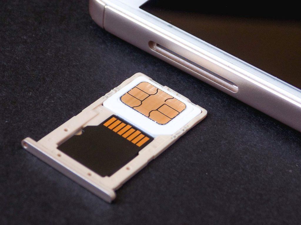SIM card in a SIM card holder.