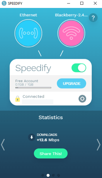 Speedify application user interface.