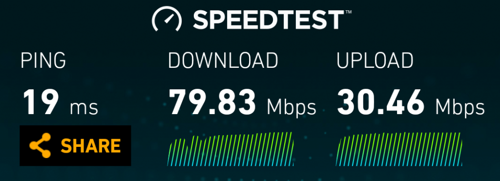 A speedtest result on the mobile app.