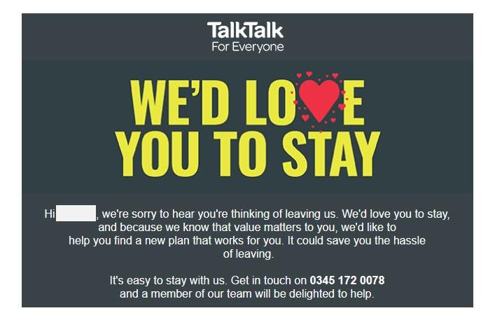 TalkTalk leaving message.