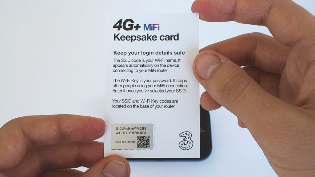 Keepsake card that comes with the Three MiFi device.
