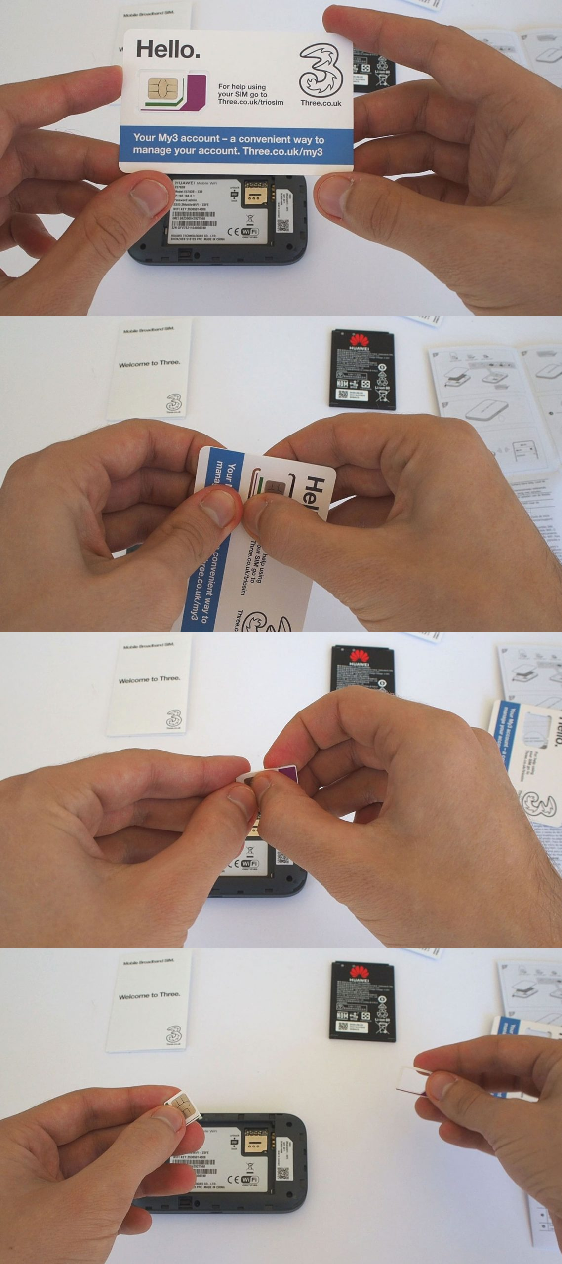 Getting the Three MiFi SIM card out of its packaging.