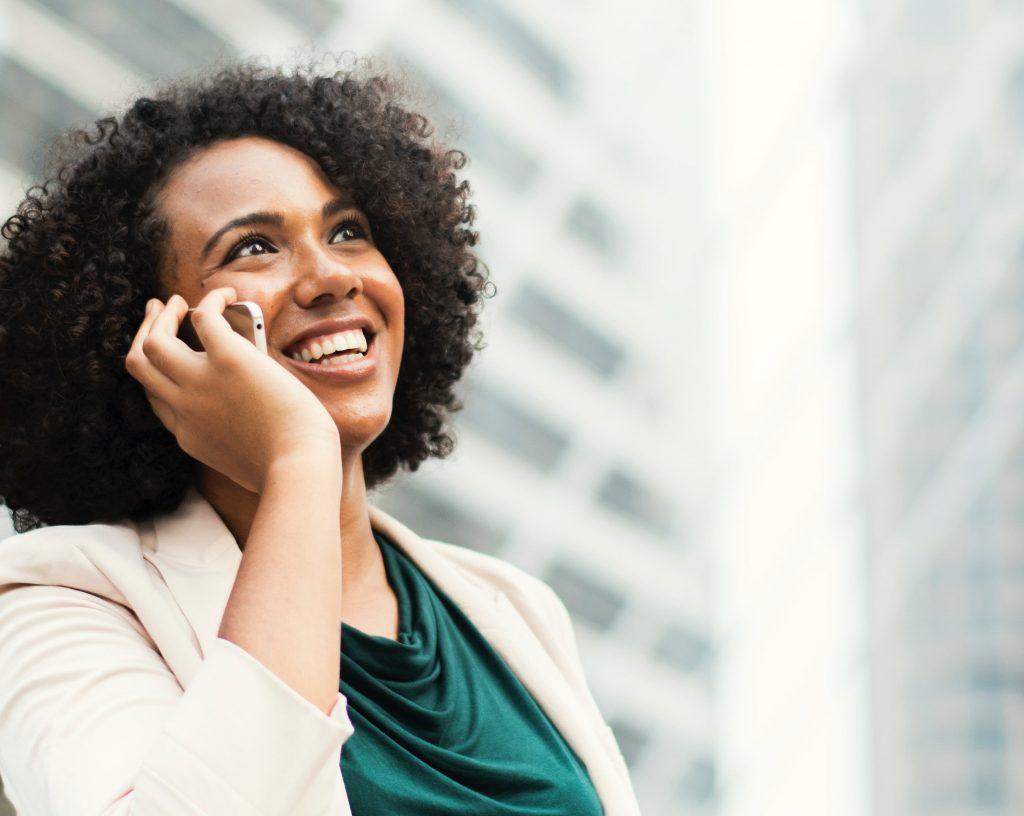 Woman making a phone call.